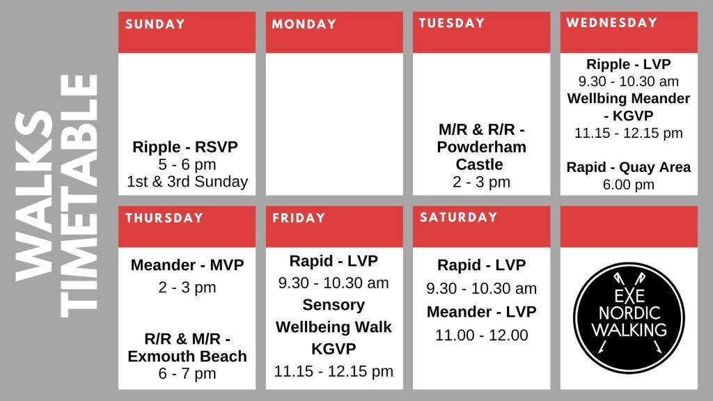 Nordic Walks timetable